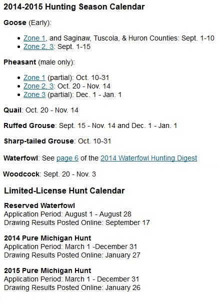 Michigan duck season