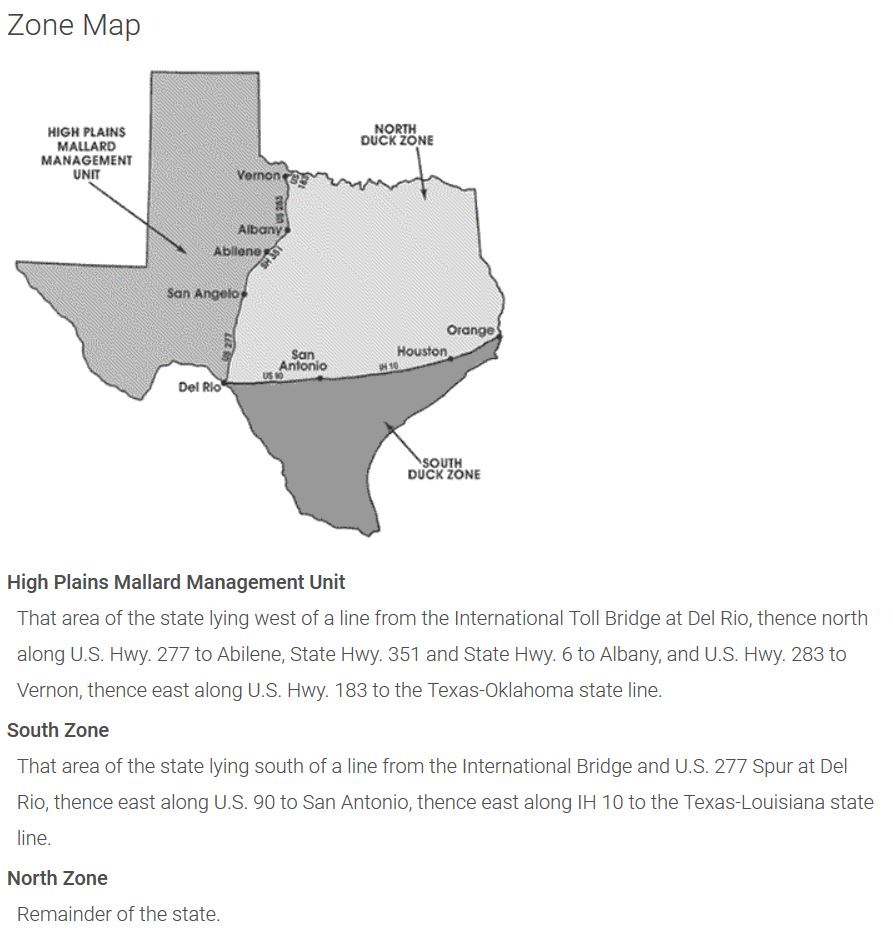 duck hunting season texas